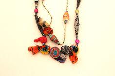 Long necklace, Long layering necklace, Statement necklace, Long fabric necklace, Long textile necklace D194 by PriFabricsAndBeads on Etsy