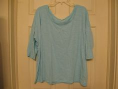 Old Navy Knit Top XXL Blue Green 3/4 Sleeve Single Shirt #OldNavy #KnitTop #Casual