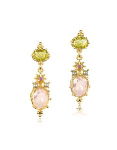 Les Nereides Green/Pink Dazzling Discretion Faceted Glass Drop Earrings at FORZIERI Canada