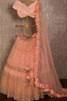 dress Indian party wear - Peach net lehenga choli dupatta party wear wedding wear indian dress custom stitched made to order dress for women's. Indian Lehenga, Net Lehenga, Bridal Lehenga Choli, Anarkali, Lehenga Gown, Pakistani Bridal, Indian Gowns Dresses, Indian Fashion Dresses, Indian Designer Outfits