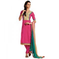 Pretty Pink Cotton Designer #Churidar Kameez #SalwarKameez #Fashion #Dress #EthnicWear #AnarkaliSuit