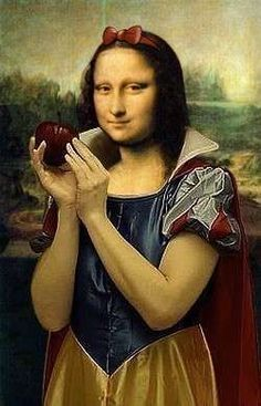 This makes us laugh because we know that its snow white and Mona Lisa mixed together. They kept Mona Lisa's face but they changed the dress to the snow white dress. This is a incongruity theory because its two or more things collaborating together. Le Sourire De Mona Lisa, Lisa Gherardini, Jm Basquiat, Mona Lisa Parody, Mona Lisa Smile, Frida Art, Principles Of Art, Italian Artist, Elements Of Art