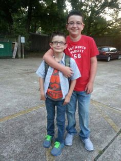 Marshall with Dawson, first day of school 2014.