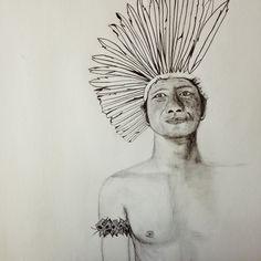 Portrait of Cacique Karai of Guarani Tribe Pencil on paper © by Simone Guimaraes