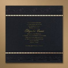 Ritzy Style - Invitation Black And White Wedding Invitations, Traditional Wedding Invitations, Bat Mitzvah Invitations, Unique Invitations, Stationery Items, Party Items, Black Paper, Art Deco Design, Bar Mitzvah