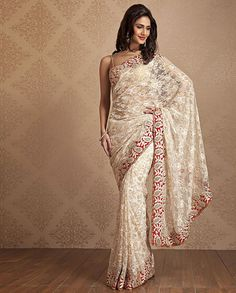 Meena Bazaar – Lace Saree with Red Embroidery Border at Bi… | Flickr