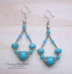Turquoise earrings Earrings for her Stone by HandmadeByMMS on Etsy