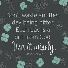 Don't waste another day being bitter. Each day is a gift from god. Use it wisely - Joyce Meyer