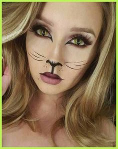 23 Fett und schöne Sommer-Make-up-Ideen - Cat, Cheetah, Deer and Fox Makeup and Facepaint - halloween costumes Wolf Makeup, Cat Eye Makeup, Kitty Cat Makeup, Devil Makeup, Zombie Makeup, Makeup Geek, Cat Halloween Makeup, Halloween Makeup Looks, Cat Costume Makeup