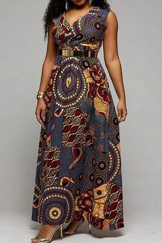 Floor-Length Sleeveless Print Western Roman Cloth Women's Maxi Dress Source by Best African Dresses, Latest African Fashion Dresses, African Print Dresses, African Print Fashion, African Attire, African Print Dress Designs, Traditional African Clothing, Shweshwe Dresses, Robes Ankara