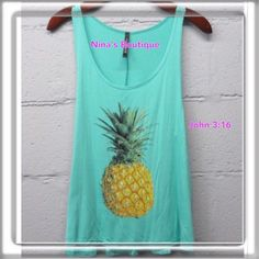 sale🎉Tank Tops Pineapple tank tops in mint. Price is firm. 95% rayon 5% spandex Tops Tank Tops