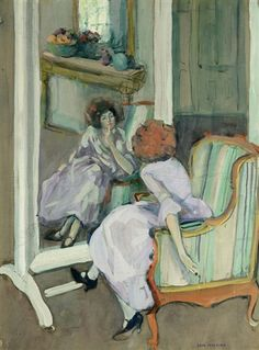 The Dressing Mirror  -  Jane PetersonAmerican 1876-1965Tempera on paper ,   58.4 x 45.1 cm
