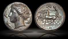 A stunning specimen of one of the most beautiful of all ancient coins, a silver tetradrachm issued by Agathokles in Syracuse, Sicily, 310-305 BC.