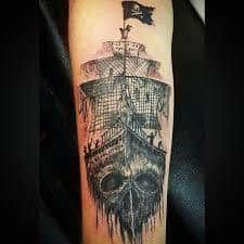 Beste Piratenschiff Tattoo Designs & Bedeutungen - Masters of the Seas - Tattoo Ideen Half Sleeve Tattoos Designs, Tattoos For Women Half Sleeve, Tattoo Designs And Meanings, Pirate Ship Tattoos, Pirate Tattoo, Urban Threads, Trendy Tattoos, New Tattoos, Arm Tattoos With Meaning