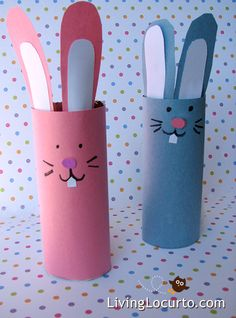 DIY Easter Crafts for Kids, Paper Bunny Candy Holder, Easter paper craft# 2014 Easter Handpainted Paper Crafts Easter Craft Activities, Easy Easter Crafts, Bunny Crafts, Paper Crafts For Kids, Preschool Crafts, Children Crafts, Easter Ideas, Paper Crafting, Paper Bunny