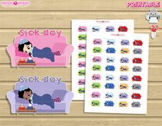 DIY Chic Sick day Printable Planner stickers print and cut at home.