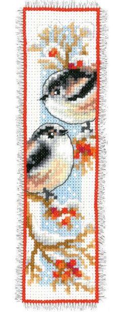 Vervaco Winter Birds Robin Reading Bookmark Cross Stitch Kit Set/2 Reading Gift