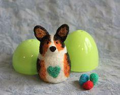 Corgi Love - Easter Corgi - Black-Headed Tri in a Green plastic egg