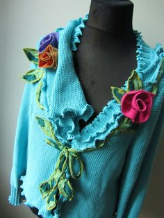 Upcycled Sweater Jumper Turquoise Blue by GarageCoutureClothes