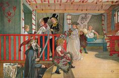 A Day of Celebration - Carl Larsson   This has always been one of my favourite Larsson watercolours - I think its the lovely red and turquoise scheme in the room - It's so happy.