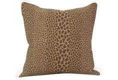 #Italian Velvet & Cheetah-Print Pillow. Custom pillow with cheetah print made of Italian gold silk velvet. Invisible zipper closure, hand-filled with down, and knife edged. $475.00