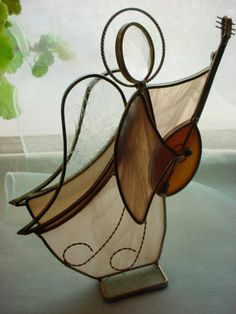 Stained Glass Angel Suncatcher Candle Shade with Lute Freestanding Peach Pink