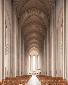 photographer thibaud poirier takes a dramatic look inside the #grundtvig church in #copenhagen. Made out of 6 million yellow bricks, it took architect peder vilhelm jensen klint almost 20 years to complete. @tibman ⠀ ⠀ more #architecture on #designboom