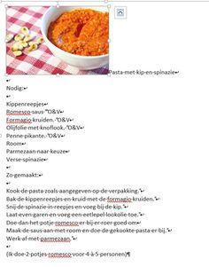 Pasta met kip, spinazie en romescosaus