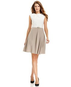 Calvin Klein Dress, Sleeveless Belted Two-Tone A-Line - Womens Dresses - Macy's