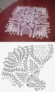 60 ideas crochet lace square pattern doilies for 2019 Crochet Doily Diagram, Crochet Doily Patterns, Crochet Chart, Crochet Squares, Thread Crochet, Crochet Motif, Crochet Designs, Crochet Lace, Crochet Stitches