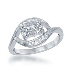 """Sterling Silver 2-Stone CZ """"By your side"""" Forever Marquise Ring (Size 8). A symbolic design to remember the special person in your life. Crafted of 925 Sterling Silver. Gift box included."""