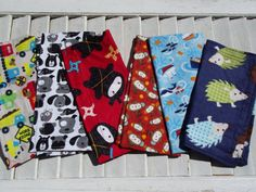 "Set of 6 8"" Children's Cloth Napkins Boys Mixed Print Lunchbox/Luncheon Napkins Set 2"