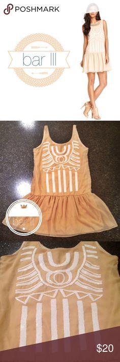 bar lll sequin dress. Nude Color waist drop dress. Tribal sequins pattern. Bar III Dresses Midi