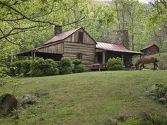 Photographic Print: Horse Grazing in the Yard of a Mountain Log Cabin by Greg Dale : 16x12in
