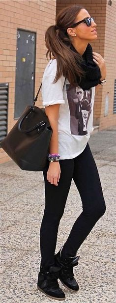 Fall / Winter - comfy style - sport style - black sneaker wedges + black leggings + oversized white printed t-shirt + black handbag + black scarf + black sunglasses
