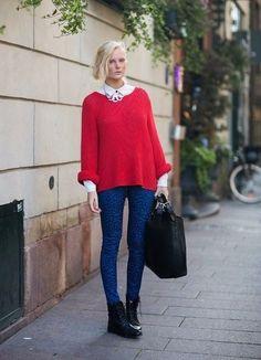 С чем сочетать красный свитер.