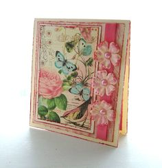 """Handcrafted Greeting Card, 5 1/4"""" x 5 3/4"""". Graphic 45, Botanical Tea."""