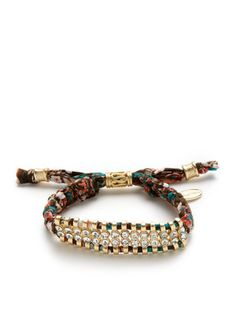 Cara Couture Jewelry Crystal Bead Woven Multicolor Bracelet
