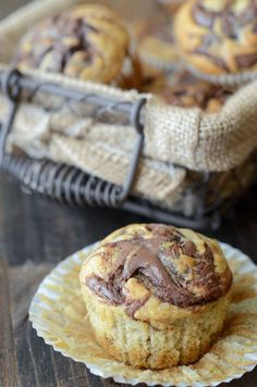 Nutella Banana Swirl Muffins from @The Novice Chef Blog {Jessica}