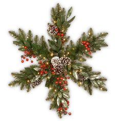 32 Frosted Pine Berry Snowflake with Battery Operated Led Lights - National Tree Company, GreenThe Frosted Pine Berry snowflake is trimmed with snow-sprinkled pinecones, berry clusters and eucalyptus leaves. It is pre-strung with 35 battery-operated Snowflake Wreath, Snowflake Decorations, Christmas Decorations, Snowflake Shape, Snowflakes, Noel Christmas, Rustic Christmas, Christmas Ornaments, Christmas Movies