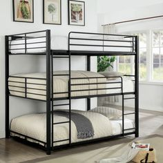 Furniture of america Carolyn triple full bunk bed full over full over full sand black metal frame industrial bunk bed Bunk Beds For Boys Room, Bunk Bed Rooms, Metal Bunk Beds, Modern Bunk Beds, Full Bunk Beds, Bunk Beds With Stairs, Kid Beds, Modern Futon, Industrial Furniture
