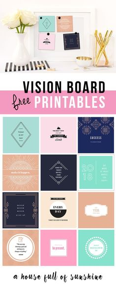These gorgeous Vision board printables will inspire, motivate and encourage you to go for your dreams! Find instruction on how to make your own pretty vision board, plus a set of beautiful free printables to get you started. Do It Yourself Inspiration, Inspiration Boards, Fitness Inspiration, Planners, Goal Board, Creating A Vision Board, My New Room, Getting Organized, Free Printables