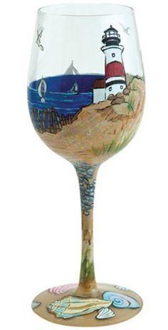 Lolita Love My Wine Hand Painted Glass, Coastal  Price : $25.49 http://www.whimsicalumbrella.com/Lolita-Love-Painted-Glass-Coastal/dp/B00B84RNDY