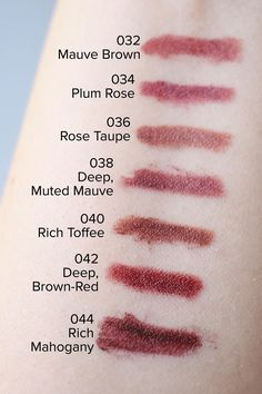 Bite Beauty The Lip Pencil swatches (032 to 044).