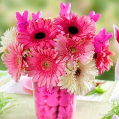 Pink Peeps Bunnies and Flowers Bouquet Idea
