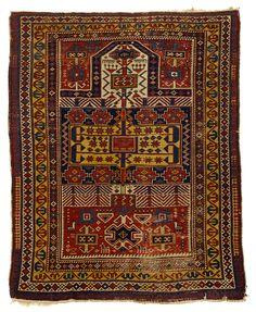 Azerbaijan . Shirvan prayer rug, east Caucasus, late 19th century.