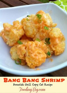 Bang Bang Shrimp - a Bonefish Grill Copy Cat recipe. This is the dish we always have when eating at Bonefish Grill. I love making it at home too! Shrimp Dishes, Fish Dishes, Shrimp Recipes, Copycat Recipes, Fish Recipes, New Recipes, Dinner Recipes, Cooking Recipes, Healthy Recipes