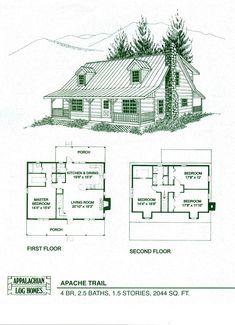 Log Home Package Kits - Log Cabin Kits - Apache Trail Model