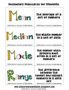 This is a freebie from my Mean, Median, Mode, and Range Pack. These are fun, colorful flashcards that your students can use to help them learn mat...