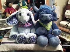 The Blue Bull and Baby Elephant ready for Christmas shipment.